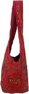 Colourful Hand Embroidered Sun Handbag from India 100 % Cotton Fabric Art