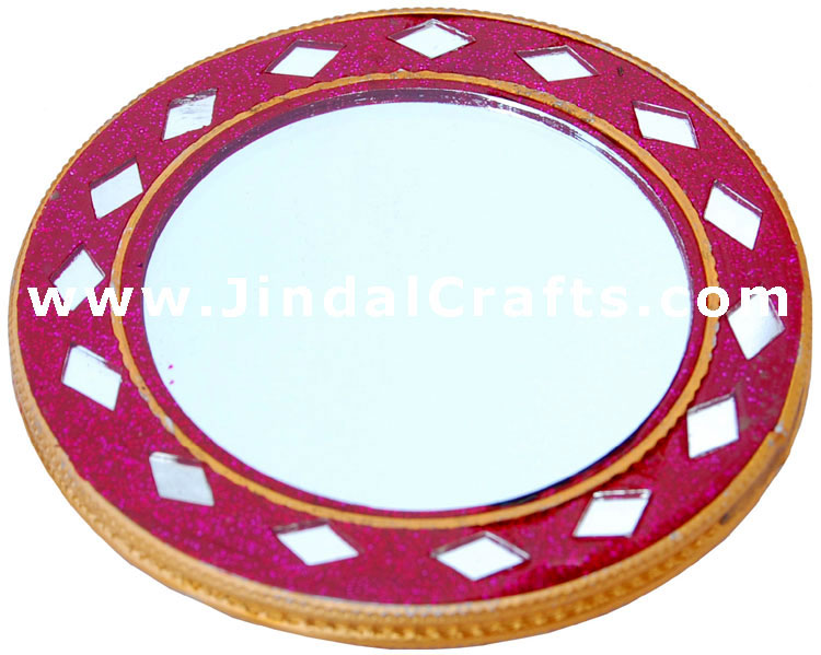 Purse Make Up Mirror - Handmade Decorative from India
