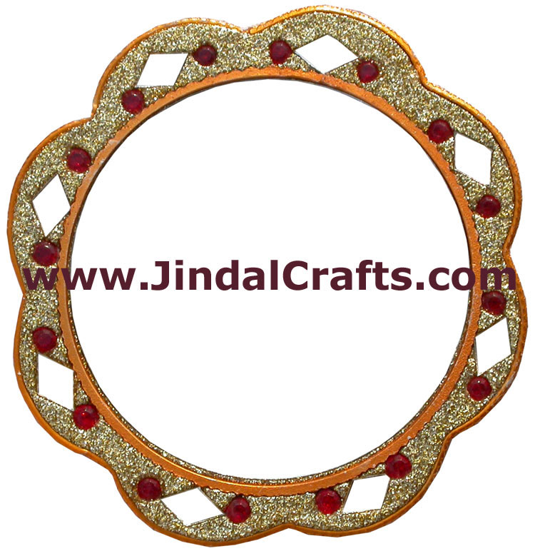 Lac Made Compact Pocket Purse Mirror Art from India