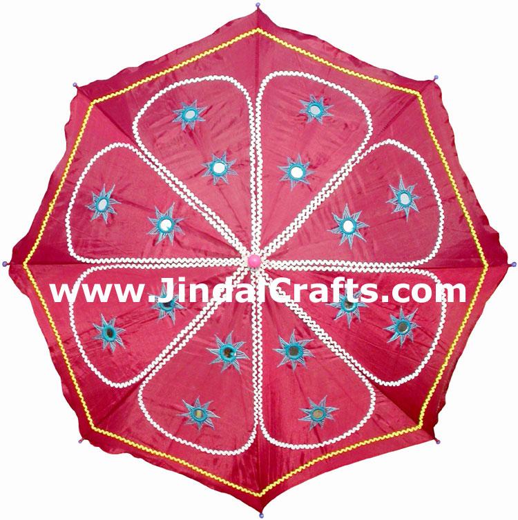 Water Proof Embroidery Sun Umbrella India Applique Art