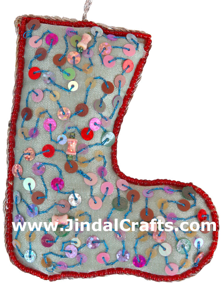 Hand Embroidered Beadwork Christmas stockings India