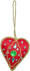 Heart - Hand Embroidered Beaded Christmas Ornaments