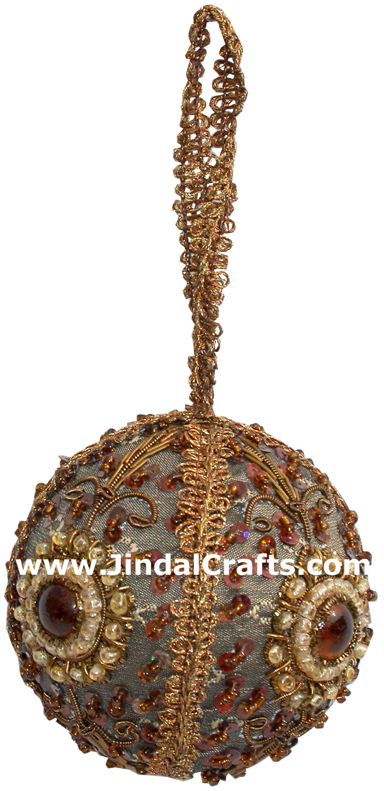 Decorative Ornaments For Living Room: Hand Embroidered Zari Christmas Hangings Ornament India
