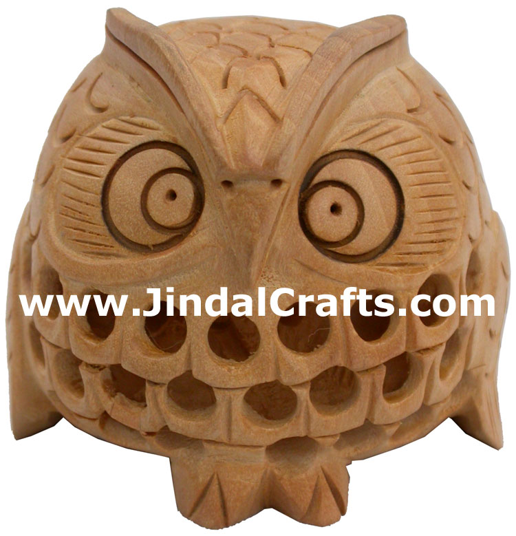 Hand Carved Owl Figurine Arts Crafts Handicrafts from India Hollow Wooden Made