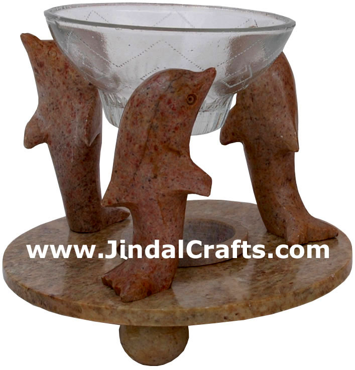 Soapstone Tart Burner Indian Hand Marble Carving Art