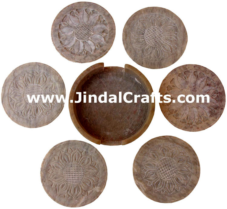 Hand Carved Marble Drink Coasters Set from India