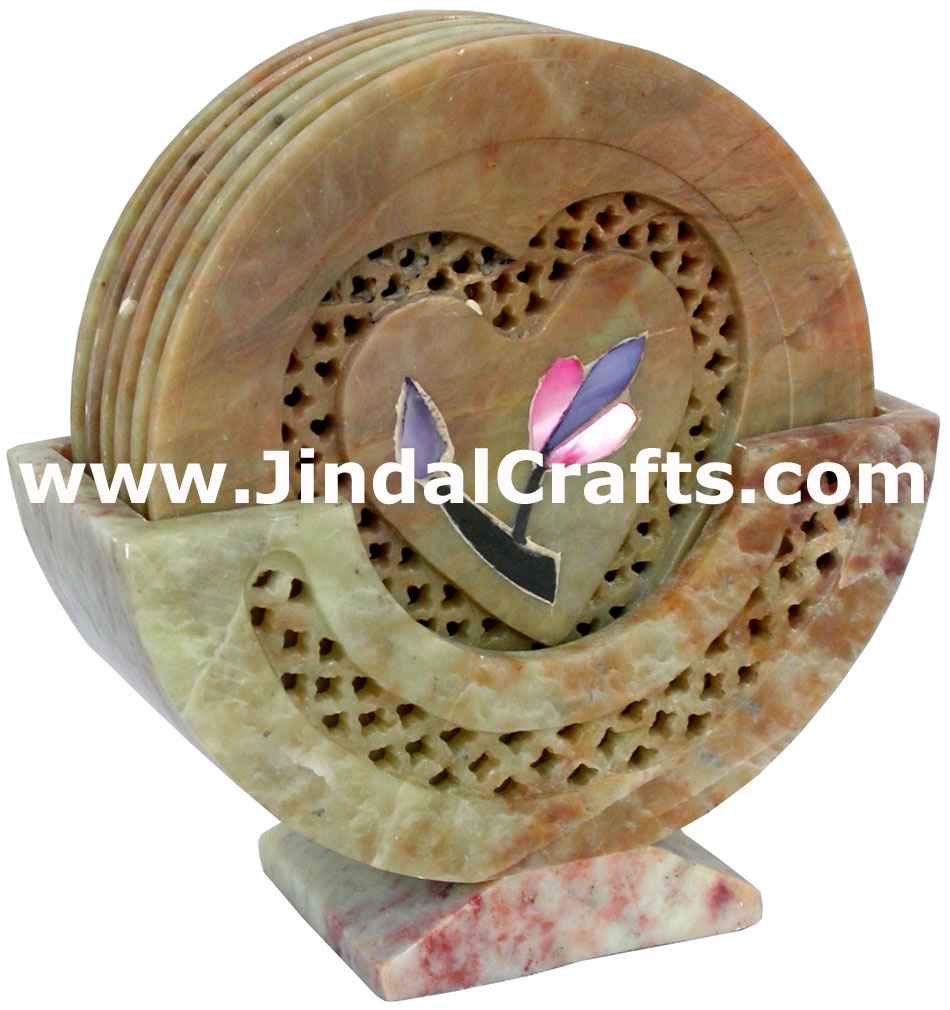 Hand Carved Stone Inlay Coaster Set Rich Indian Art Crafts Handicraft Artifact