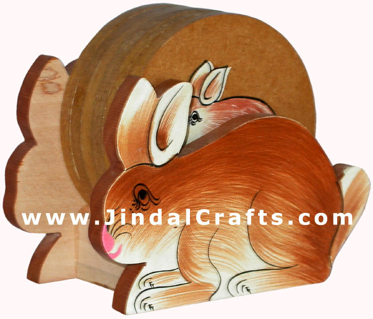 Drink Coasters - Hand Painted Wooden Traditional Art