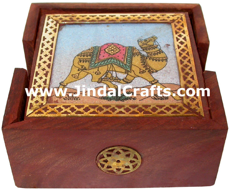 Handmade Gemstone Dust Wood Coasters Set India Crafts