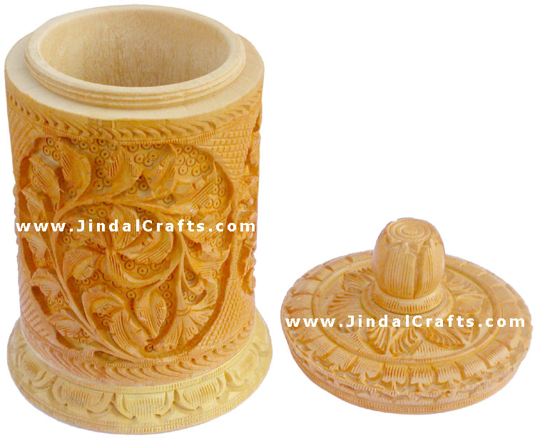 Hand Carved Jewelry / Multi Purpose Box Indian Wood Art