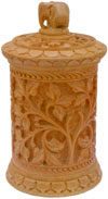 Hand Carved Wooden Multi Purpose Box Indian Traditional
