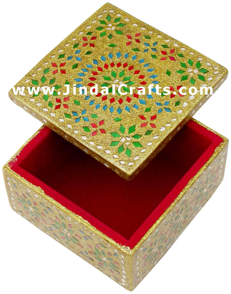 Handmade lac decorative jewelry box indian rich crafts for Handmade home decorative item
