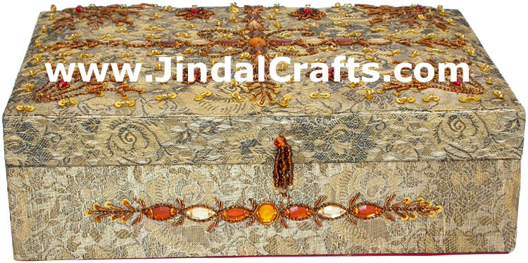 Hand Embroidered Designer Jewelry Box Beaded Zari Indian Art Novica Gaiam Gift
