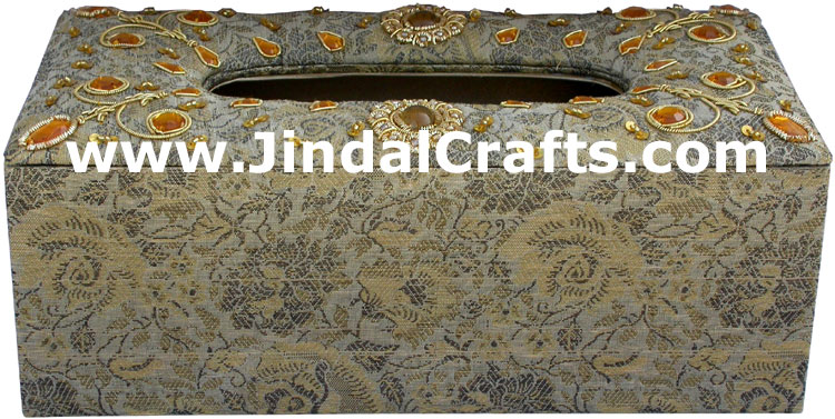 Tissue Box Cover Beaded Hand Embroidered Jari Craft Art