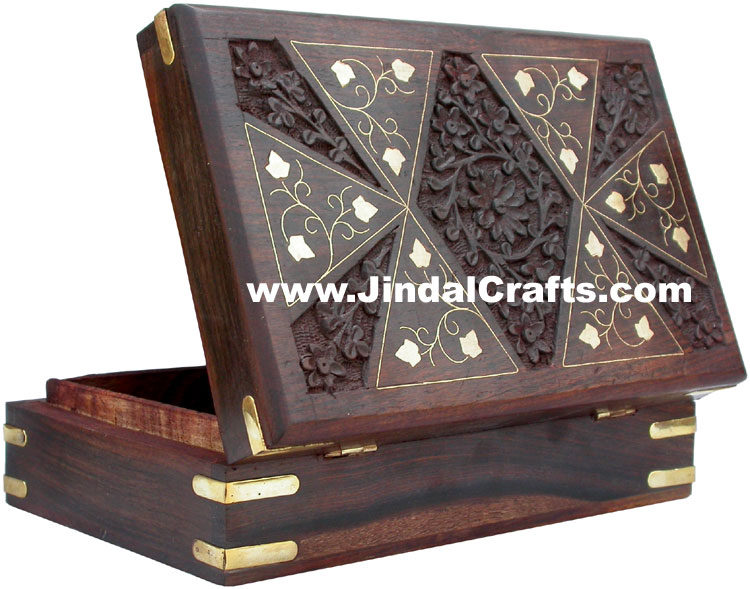 Handmade Wooden Brass Inlay Boxes Indian Handicrafts Arts Crafts Gift Souvenirs