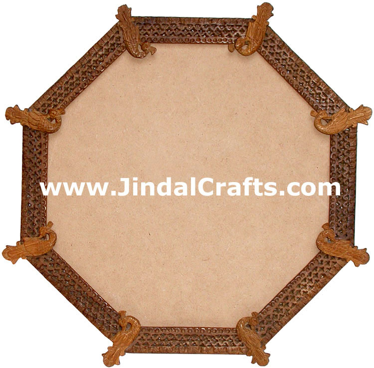 Photo mirror frame handcarved wooden indian art for Wooden mirror frames for crafts