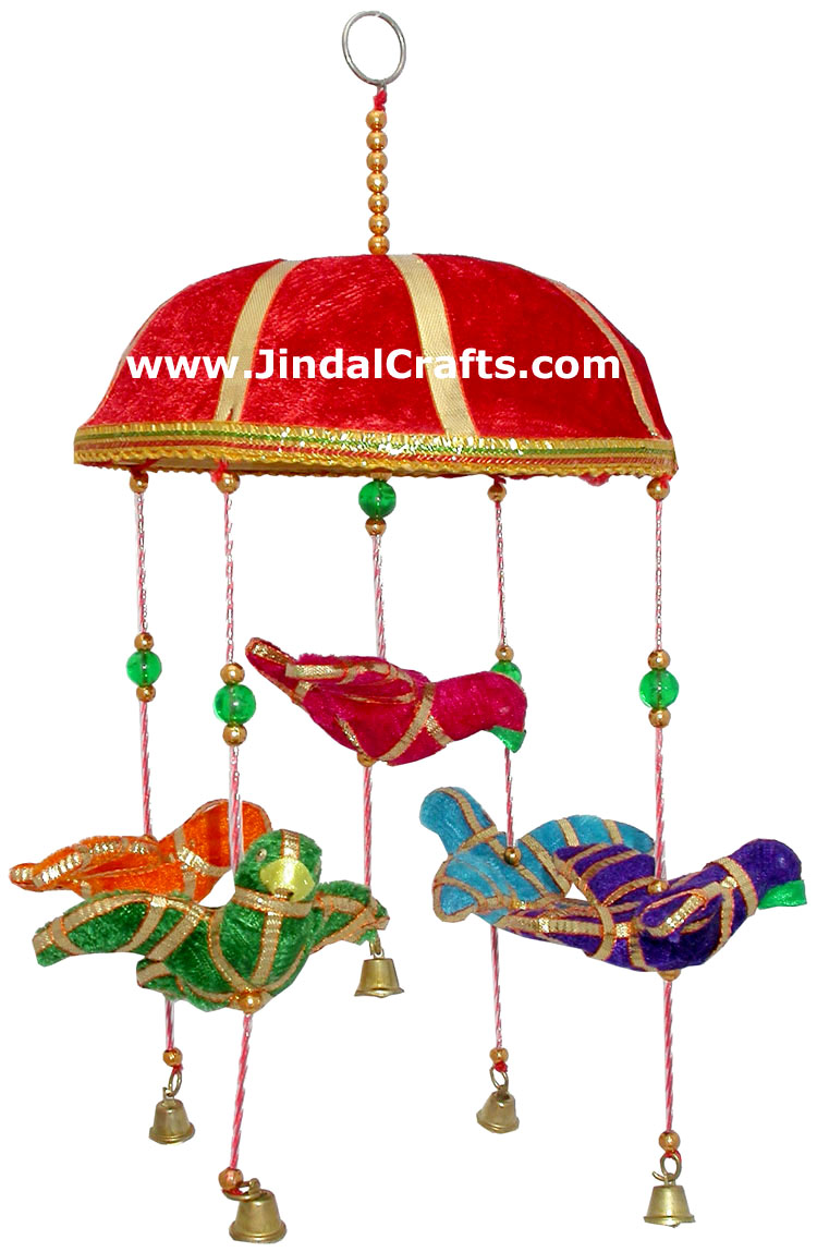Handmade Traditional Five Birds Hanging India Folk Art