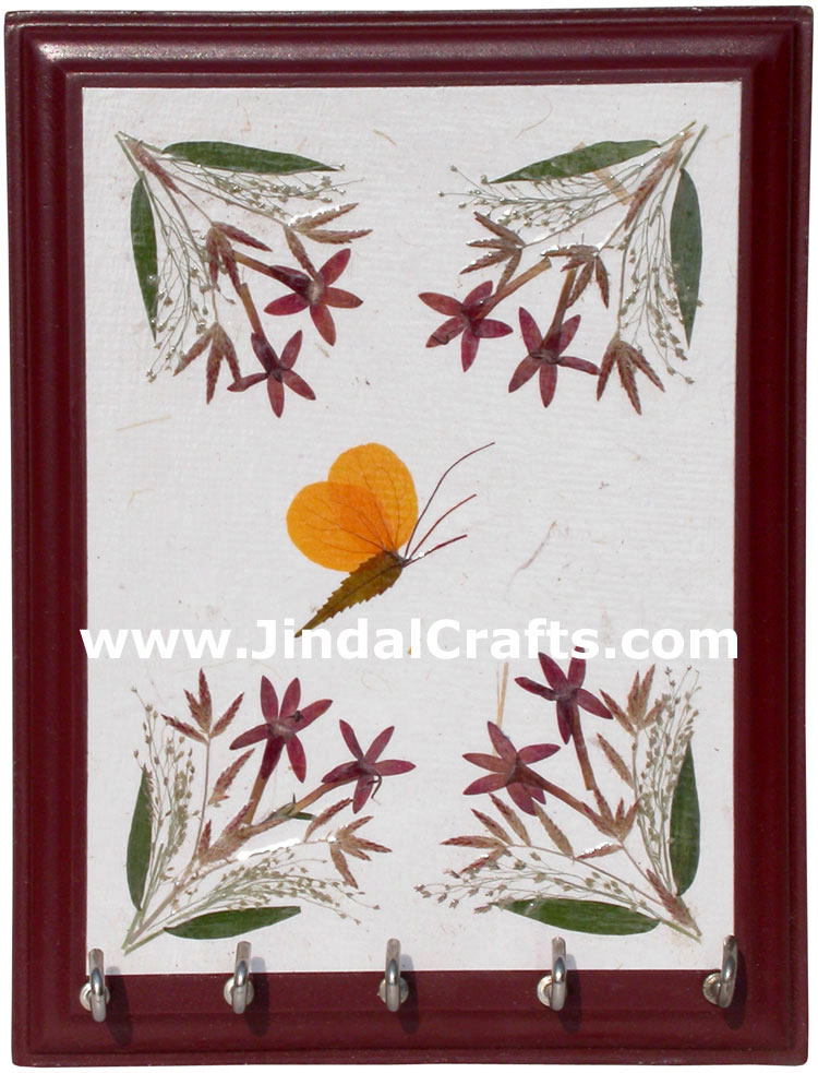 Hand Made Dried Flowers Decorative Key Holder India Art
