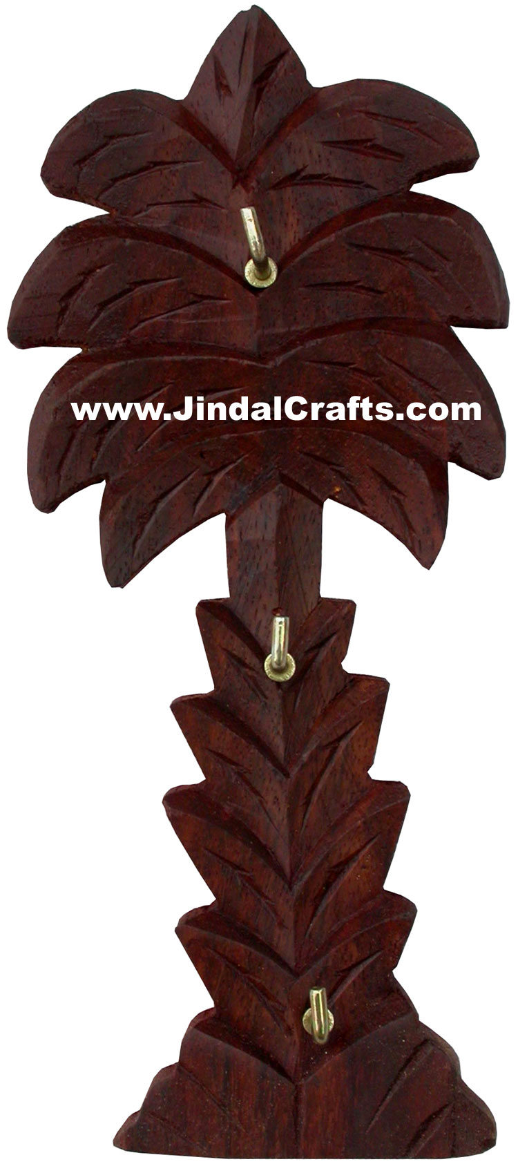 Handcarved Wooden Brass Inlay Key Holder Home Decor
