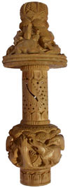 Handmade Wooden Jungle Table Lamp Indian Carving Art