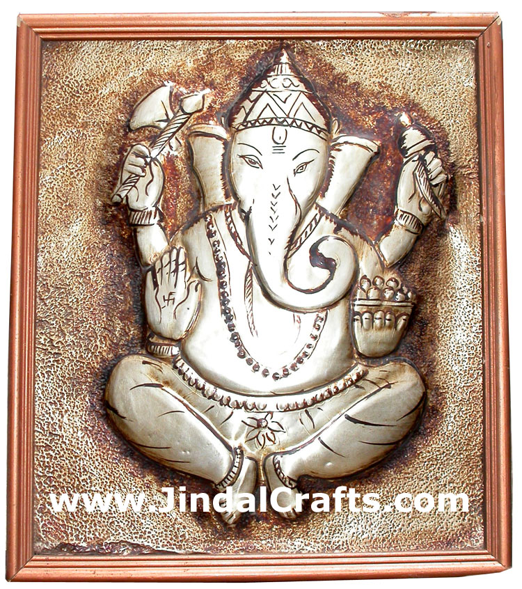 Ganesh Metal Embossed Painting India Handicrafts Decor