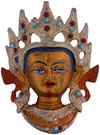 Hand Painted Metal Colored Tara Face India Traditional Buddhism Art Craft Buddha