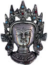 Metal Sculpture Silver Tara Face Mask Indian Tradition Hand Crafted Buddhism Art