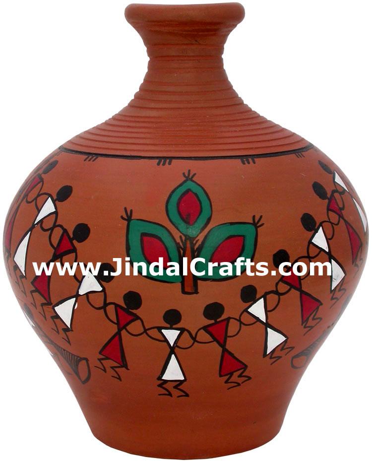 Terracotta Vase Hand Made Warli Painted Decorative Art