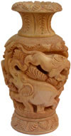 Hand Carved Wooden Decorative Vase India 3D Jungle Carving Art