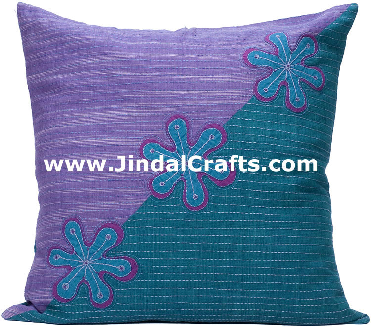 Hand Embroidered Designer Cushion Cover Indian Bedding