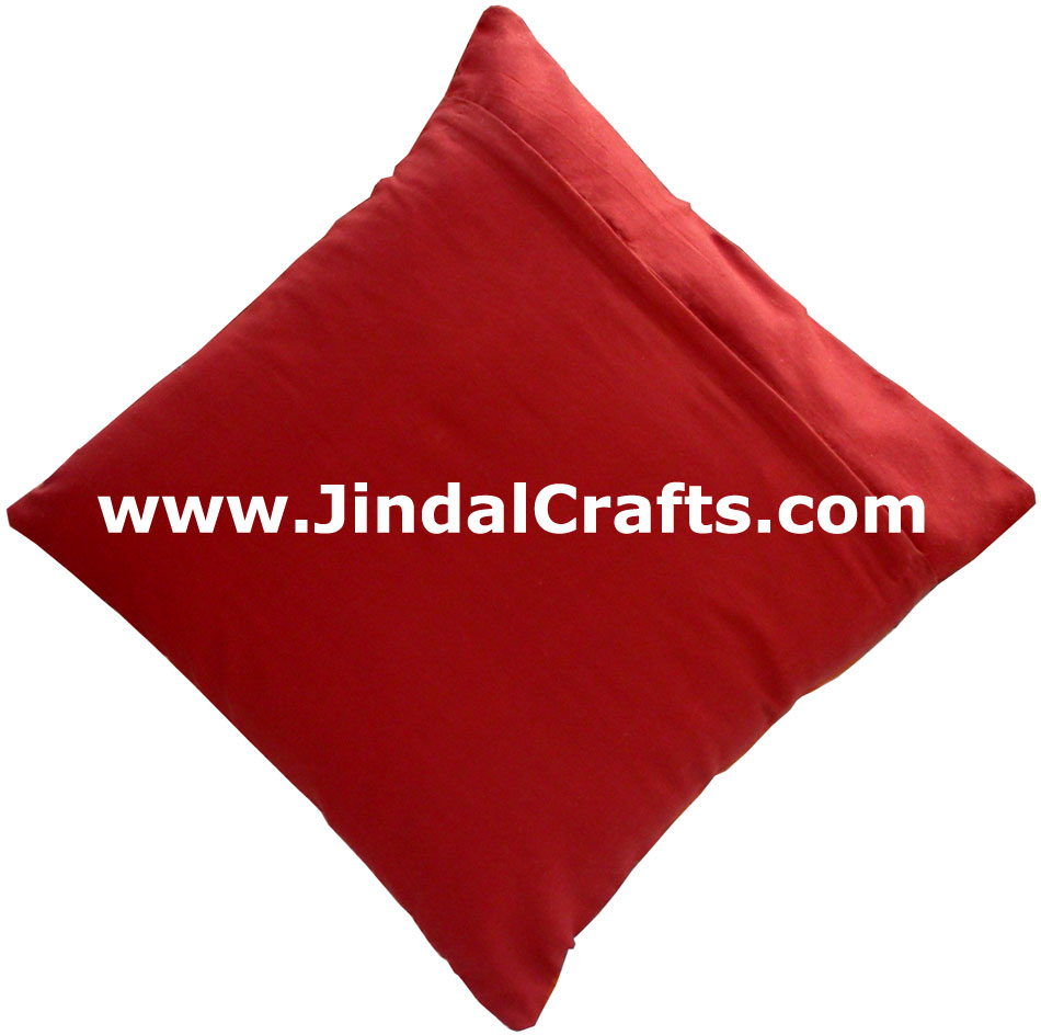 Ethnic Cushion Cover - Rich Indian Hand Stitched Colourful Art Hand Work