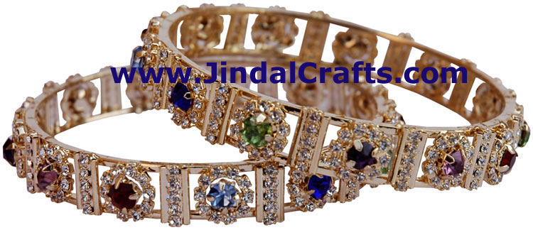 COLOURFUL BANGLES PAIR FINE QUALITY ARTIFICIAL JEWELRY FROM INDIA HANDICRAFTS