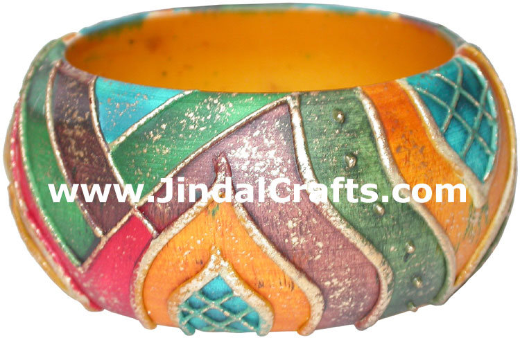 Embossed Wooden Designer Bangles Fashion Jewelry India