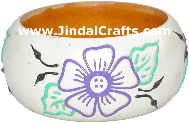 Colourful Traditional Bangle Hand Painted Wood Jewelry
