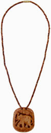 Hand Carved Wooden Necklace India Traditional Jewelry