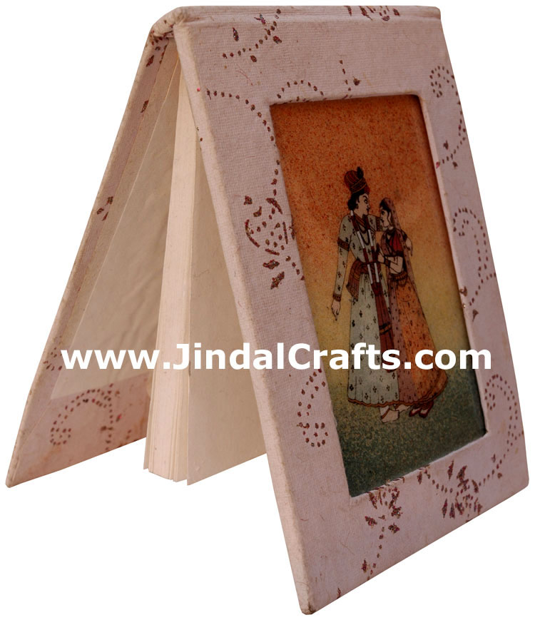 Handmade Paper Diary with Gemstone Dust Painting India