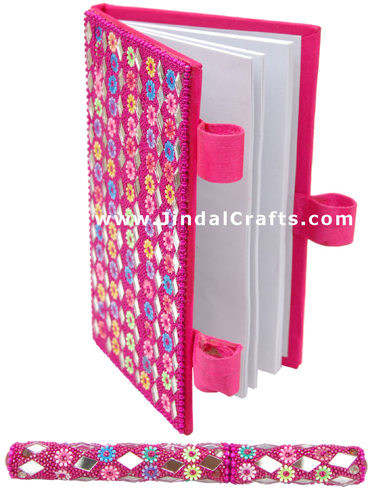 Lac Mirrors Notebook Pen Handcrafted Indian Traditional Handicraft Multicolor