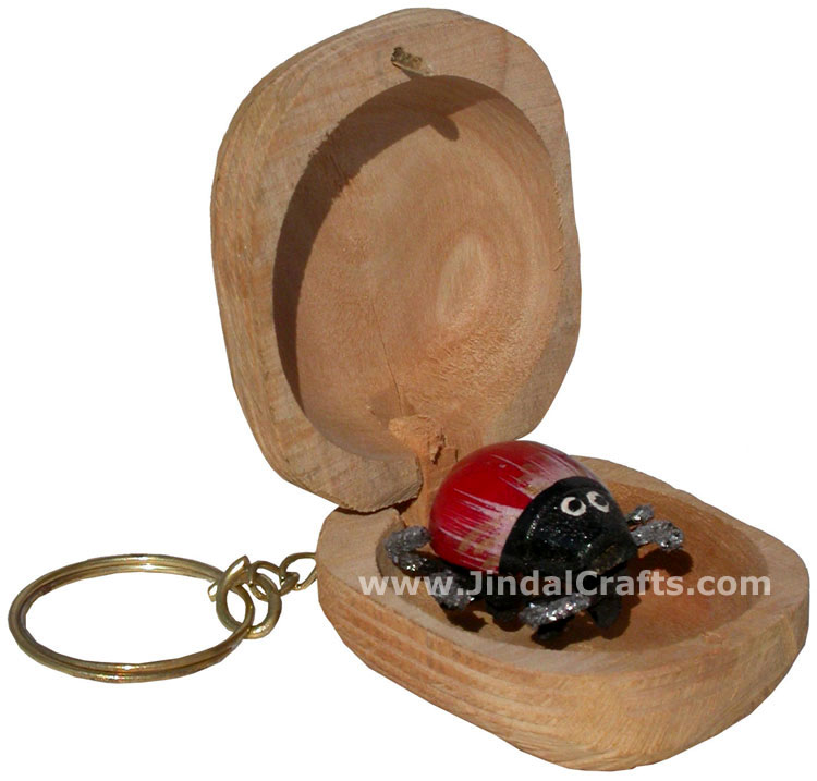 Hand Carved Surprise Wood Ladybird Key Chain Ring India Art