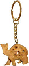 Camel - Hand Carved Wooden Key Chain Ring India Art