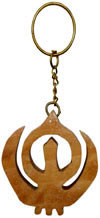 Handcarved Wooden Sikh Symbol Key Chain Key Ring Gift