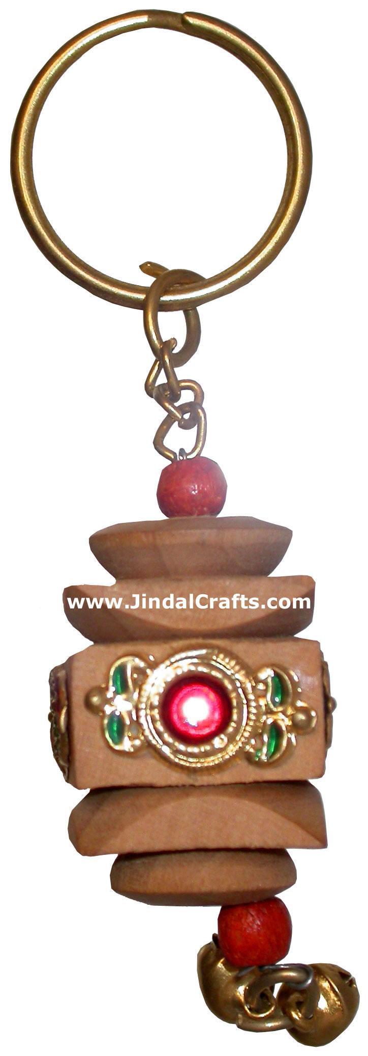 Hand Carved Square Jhumka Key Chain Ring India Artifact