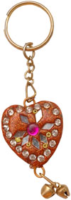 Heart - Hand made Lac Work Key Chain Ring India Art