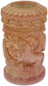 Hand Carved Wood Decorative Pen Holder Stand India Art