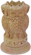 Hand Carved Wood Owl Pen Holder Stand India Jungle Carving Corporate Souvenirs