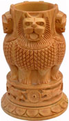 Hand Carved Wood Ashoka Stambh Pen Holder Stand Holder India Carving Handicrafts