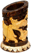 Pen Holder Wood Hand Carved Antique Look Jungle India