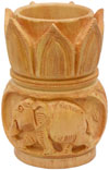 Hand Carved Wood Pen Holder Stand India Jungle Carving Gift Corporate Souvenirs