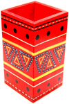 Pen Stand Handmade Hand Painted Colorful Box India Art