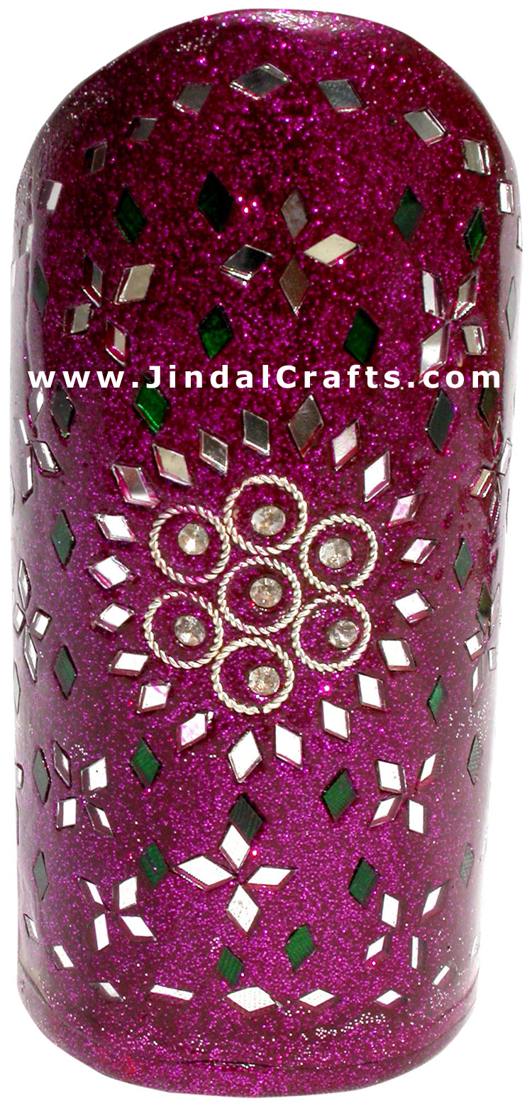Handmade Colorful Lac Mirror work Pen Holder India Art