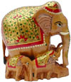Hand Carved Real Gold Painted Elephant Family India Art